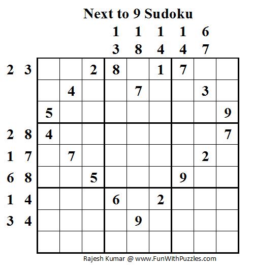 Next to 9 Sudoku (Daily Sudoku League #53)