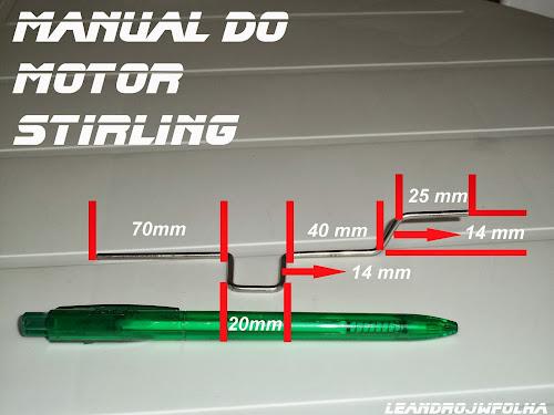 Manual do motor Stirling, medidas do virabrequim feito com raio de bicicleta