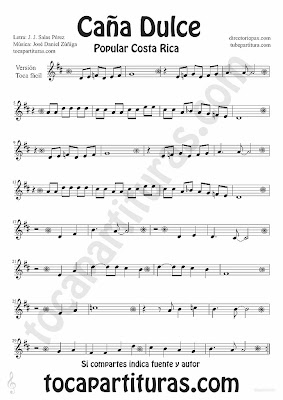 Tubescore Sweet Cane by JJ Salas Perez and Jose Daniel Zuñiga Easy Version Sheet Music Puerto Rico popular song Music Score