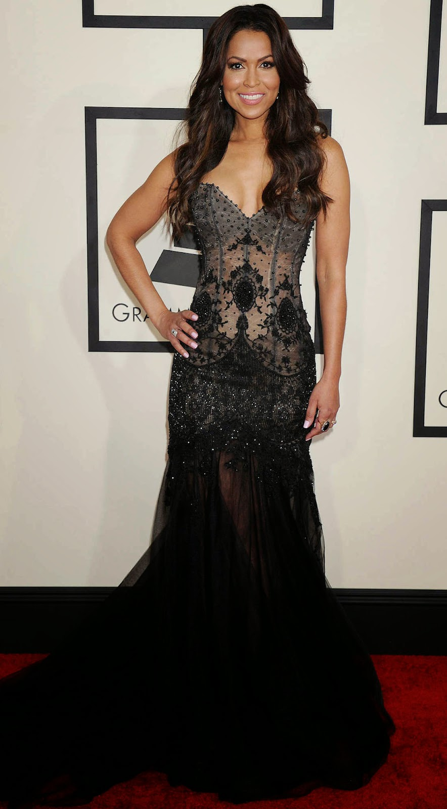 Tracey Edmonds 2015 Grammy Red Carpet