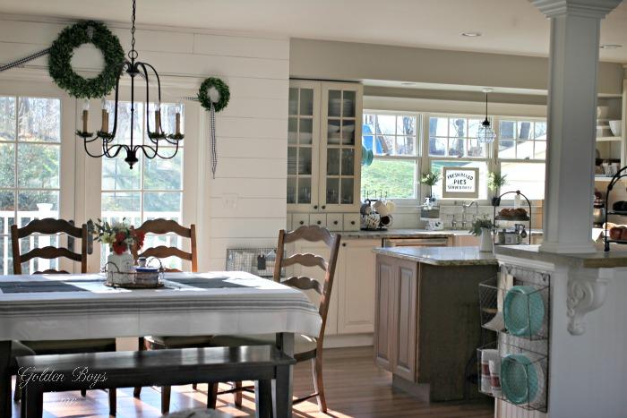 DIY farmhouse style kitchen with shiplap, planking, white cabinets - www.goldenboysandme.com