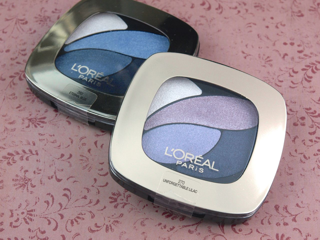 "L'Oreal Color Riche Wet Eyeshadow Quads in ""Eternal Blue"" and ""Unforgettable Lilac"": Review and Swatches"