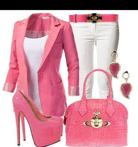 Conjunto elegante rosa y blanco