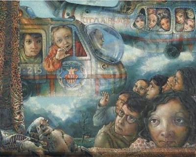 Dick Pieters 1941 pintor holandés Realismo Fantástico