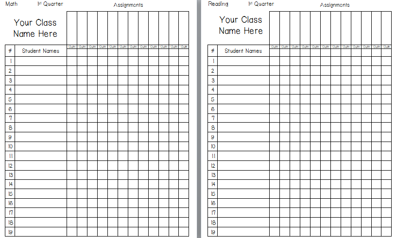 Classroom Freebies: Printable Grade Book