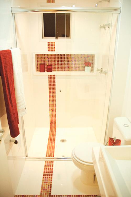 REFORMA É TUDO DE BOMLENEKARMO Banheiro Preto e Branco,Vermelho,Verde,C -> Nicho Vermelho Banheiro
