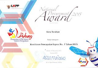 LPSE Tarakan Mendapat Anugerah National Procurement Award 2015