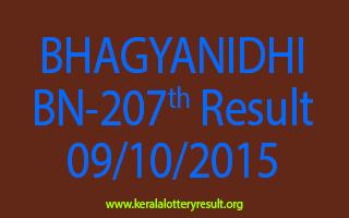 BHAGYANIDHI BN 207 Lottery Result 9-10-2015