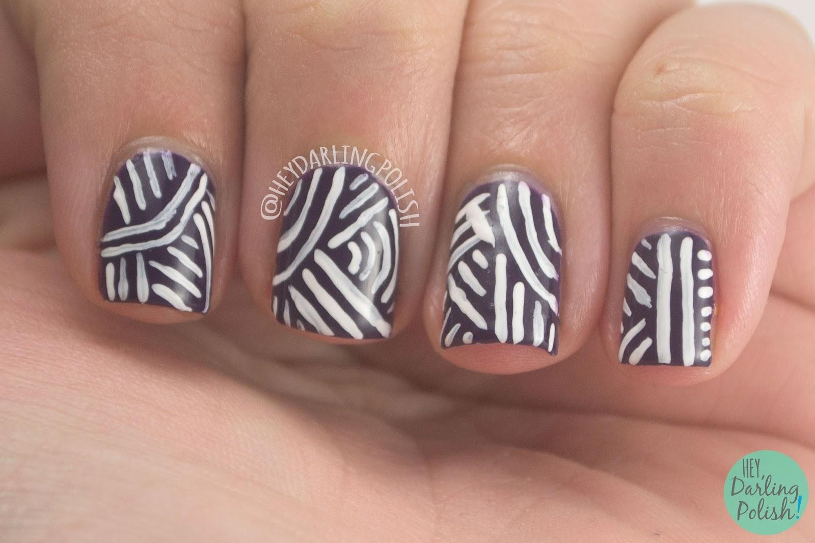 nails, nail art, nail polish, stripes, purple, lines, stripes, hey darling polish, 31 day challenge, 31dc2014,