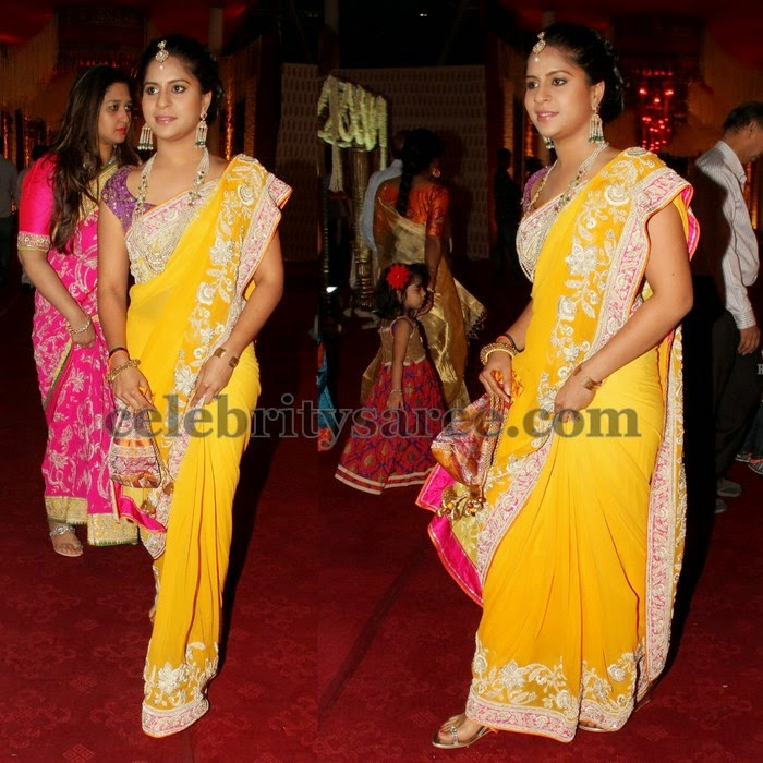 Yellow Thread Work Designer Saree