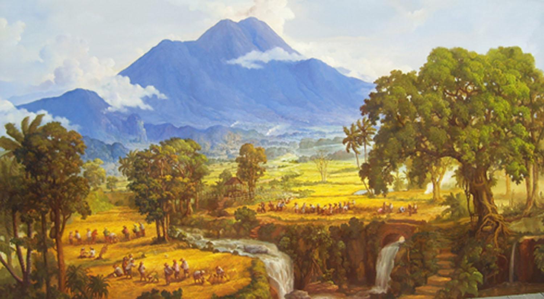 Pemandangan Desa Di Kaki Gunung