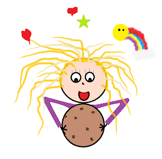 sketch of me holding a cookie the size of my head, smiling.  2 hearts, 1 star, and a rainbow above me.