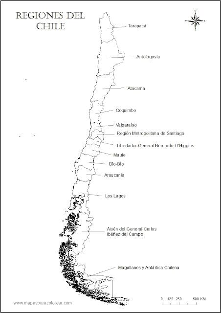 mapa regiones chile