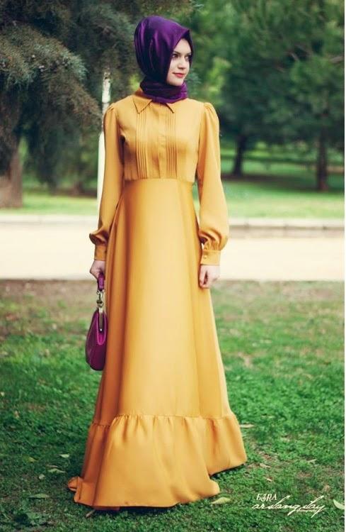 sarı uzun elbise