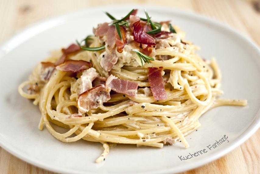 przepis, spaghetti, carbonara, makaron, sos carbonara, czosnek ...