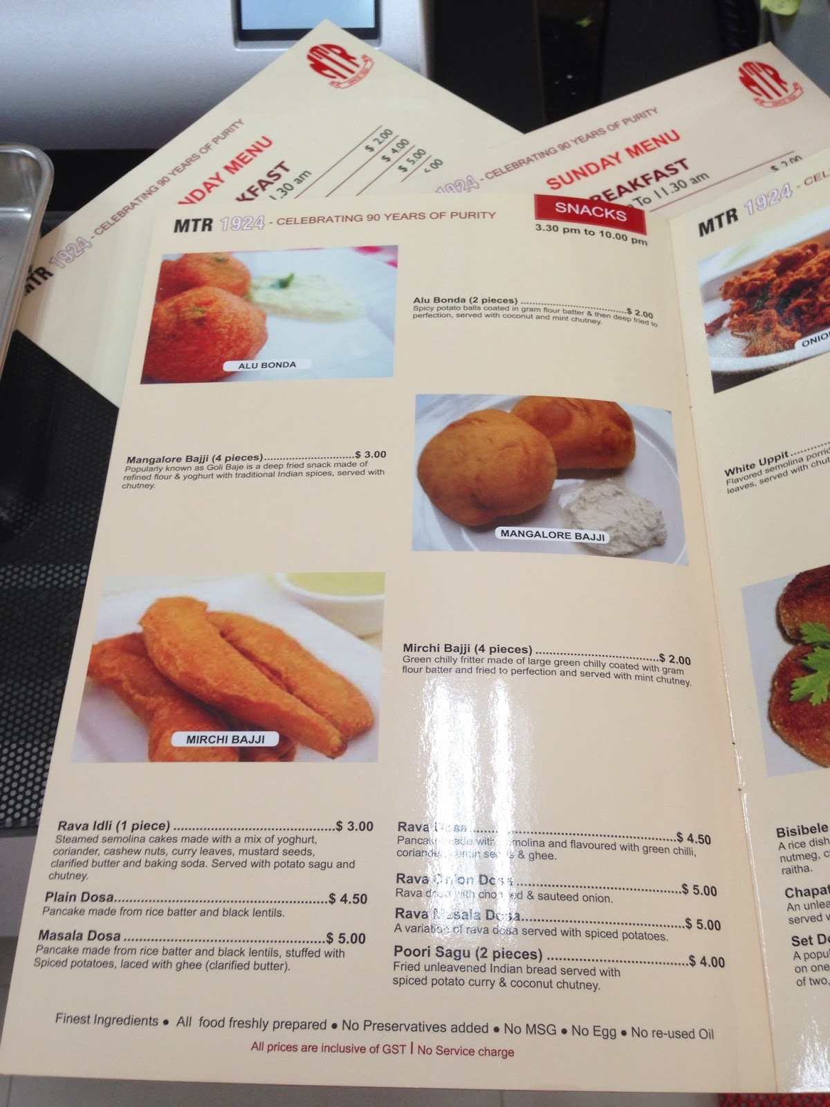 Menu at MTR Singapore - Picture of MTR Restaurant, Singapore ...