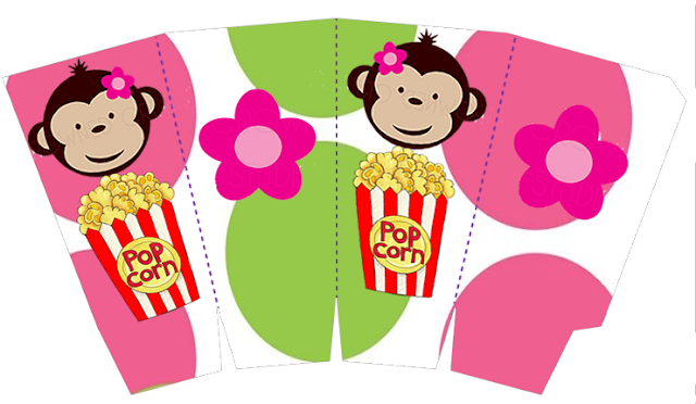 Free Printable Pop Corn Box of Monkeys.