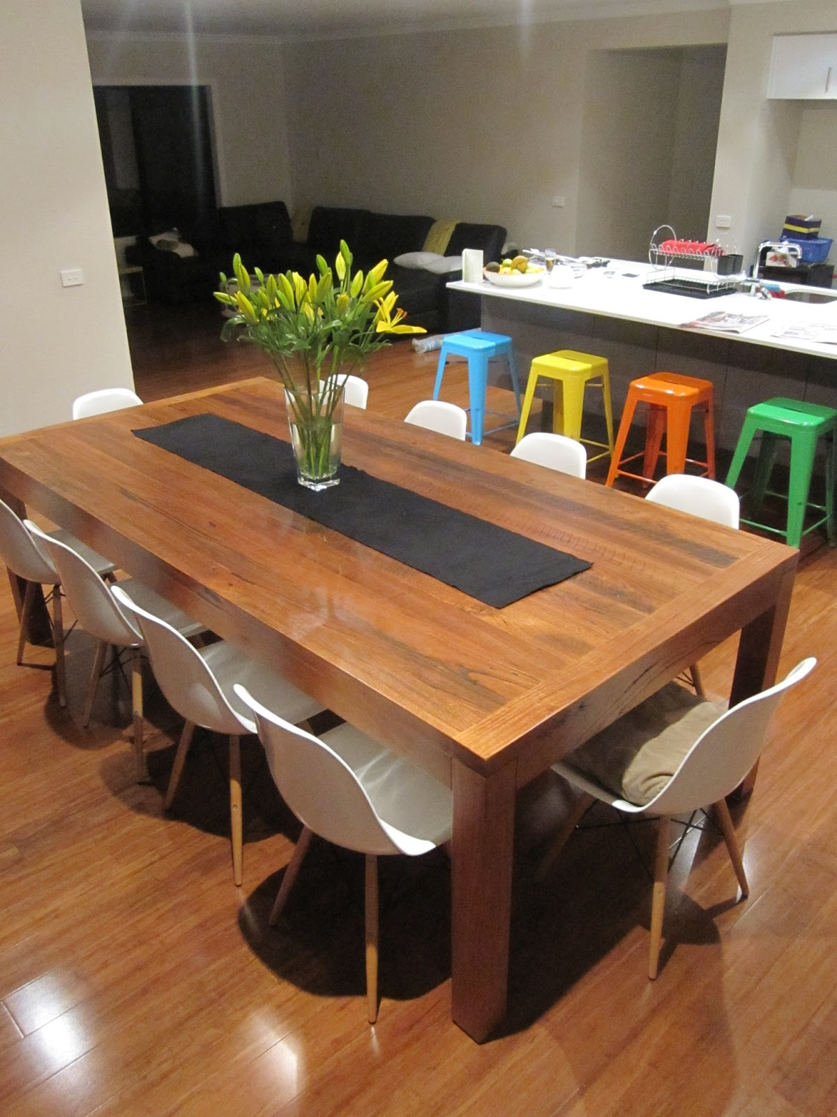 Ideal Looking down whilst standing on the kids table Have a look at our stunning dining table made of reclaimed timber from old Melbourne houses It was custom