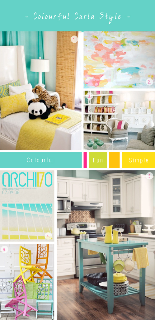 Colourful Carla Interior Mood-board Via colourfulcarla.com | Aqua, Pink, Green, Yellow
