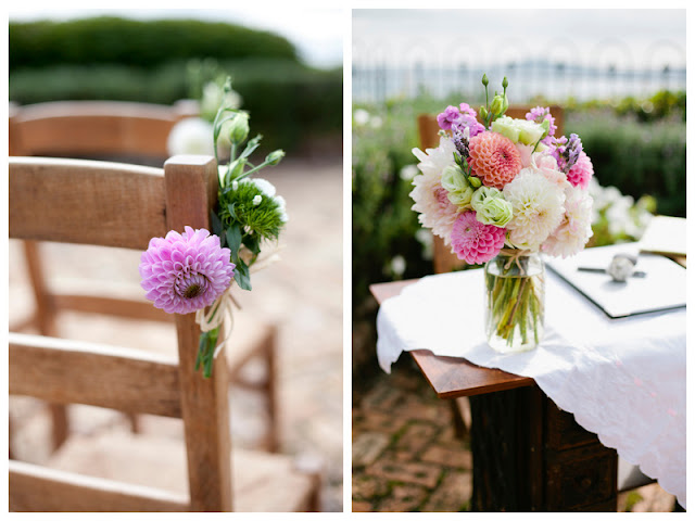 lovely dahlia florals in this DIY meets art deco wedding in New Zealand