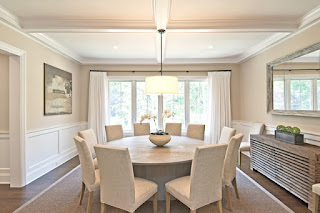 Amaxing White Drum Pendant Light in Dining Room with Round Dining Tables and Fluffy Chairs around it