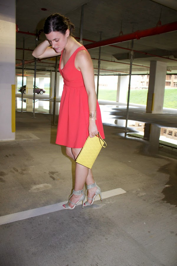 LuLu's Dress, Aldo clutch, Jessica SImpson snakeskin heels, yellow clutch, Birthday Dress
