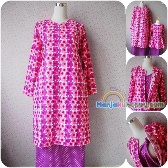 Baju Kurung Menyusu Sedondon dengan anak Purple Pink Orchid BKibu bf1