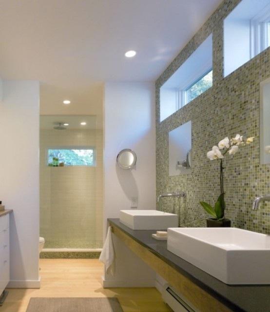 Baño Verde Con Blanco:baño azulejos tonos verdes