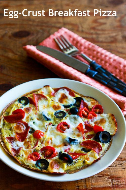 Photo of Egg-Crust Breakfast Pizza with Pepperoni, Olives, Mozzarella ...