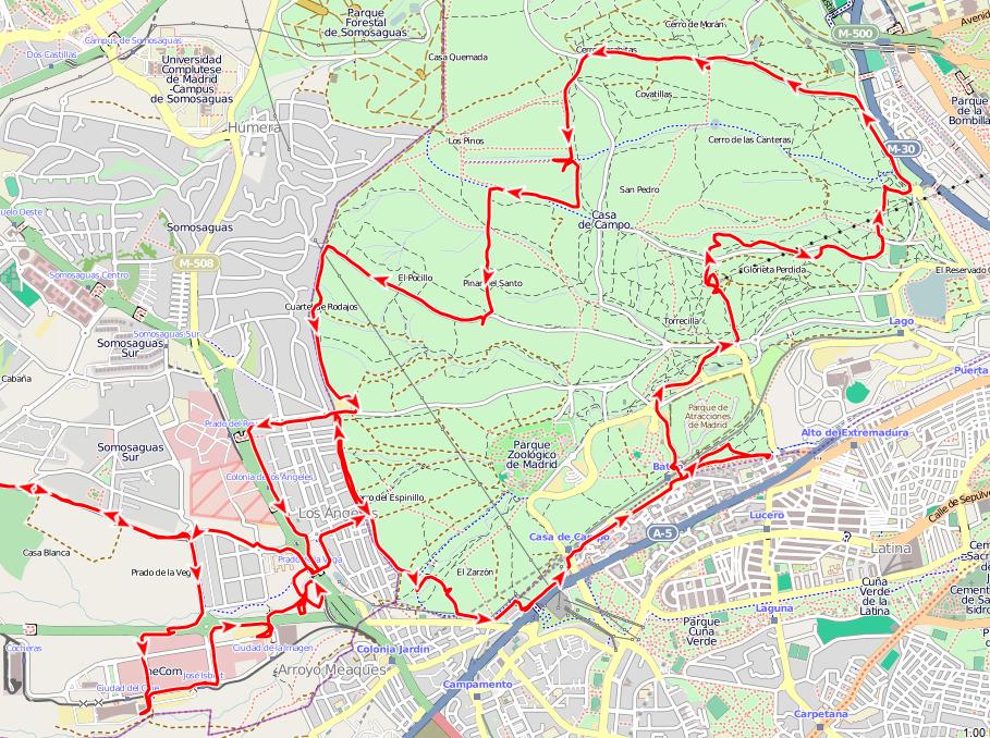 Rutas y excursiones bicicleta y geocaching por la casa de - Mapa de la casa de campo ...