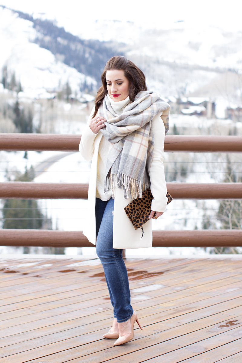 plaid blanket scarf, leopard clutch, white coat, red lipstick