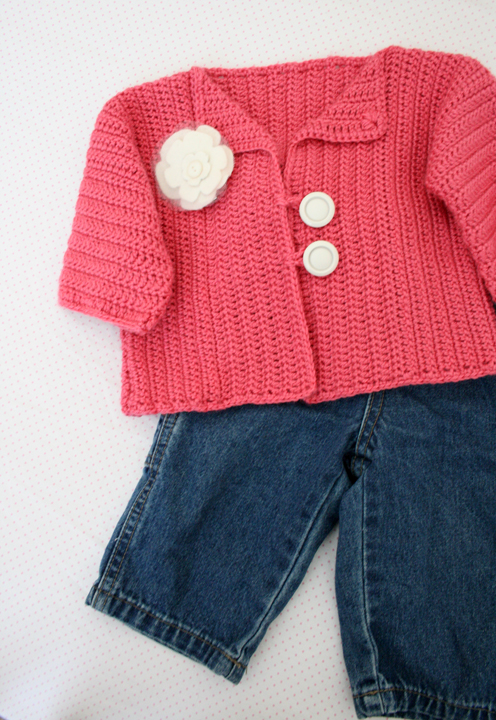 How to Crochet a Baby Sweater/Cardigan - Cat's One Piece Wonder