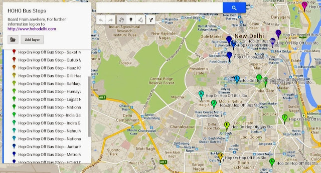 Locate HOHO Bus Stops for Delhi Sightseeing using Map