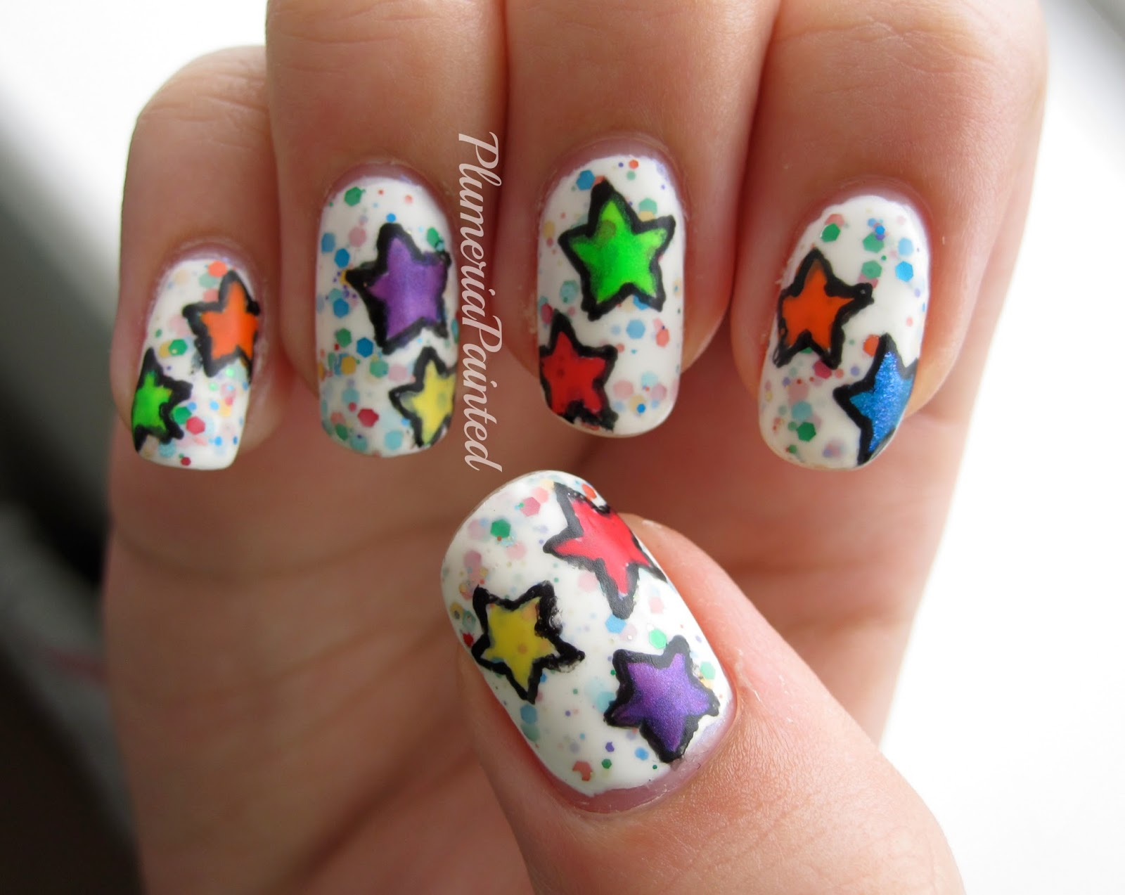 Stars nail art image collections nail art and nail design ideas plumeriapainted rainbow star nail art prinsesfo image collections prinsesfo Choice Image