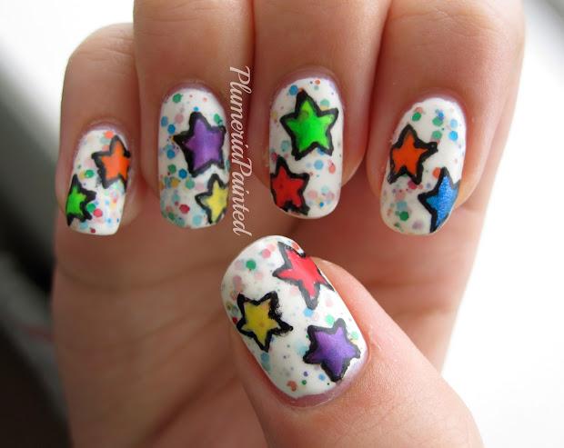 plumeriapainted rainbow star nail