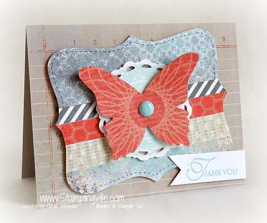 Die-cut butterfly Thank You card
