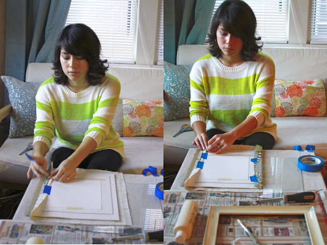 Upcycle those old picture frames to make a pretty fabric frame for your walls! #diy | brewedtogether.com