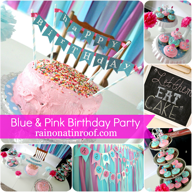 A Stylish Blue & Pink 1st Birthday Party {rainonatinroof.com} #party #birthday #DIY #craft #birthdayparty #blue #pink #1st #firstbirthday