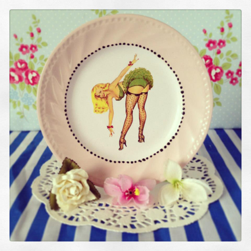 Pilfered+Decoupage+Transferred+Plates+Pin+Up+Decal+on+Pastel+Painted+Plate Painted and Decoupage Retro Vintage Patterned Crockery From Pilfered