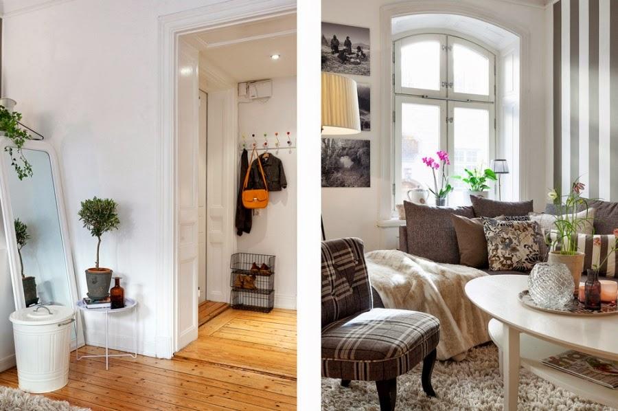 białe wnętrza, salon, szarość, szary, kratka, kanapa, sofa, fotel, lampa, stolik, lustro, kosz, kubeł