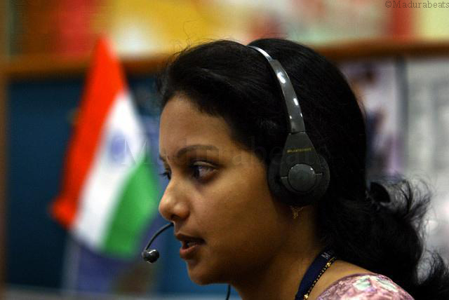 Pretty India, A lady with head phone, Indian flag waving behind, An Indian girl, India
