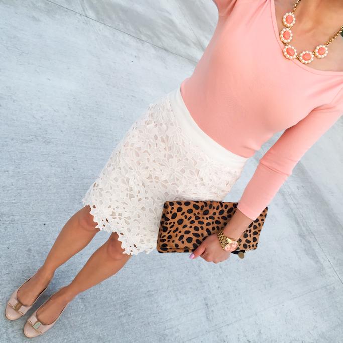 Loft floral lace skirt Jcrew boatneck peach tee Ferragamo vara pumps Clare v leopard foldover clutch Michael Kors gold watch