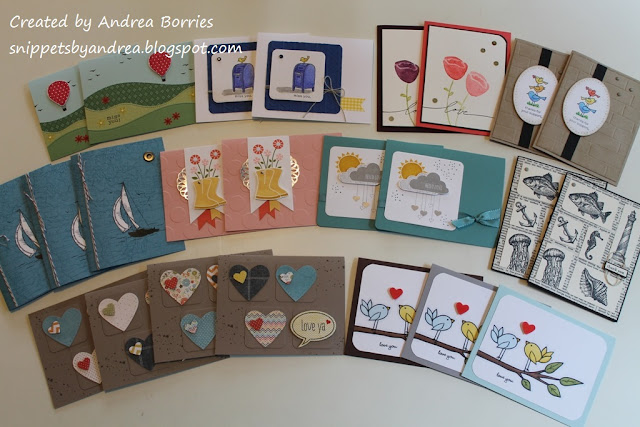 A variety of handmade cards to be donated to Operation Write Home.