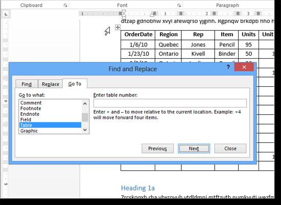Điều hướng từ bảng này đến bảng khác Word 2013 2