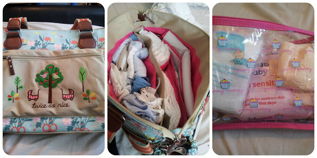 pink lining, hospital bag, what to pack, twins bag, large changing bag