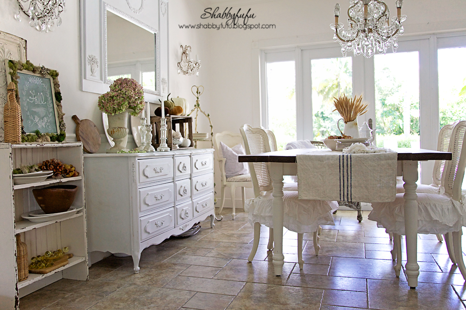 Early Fall Vignettes In The Dining Room At ShabbyfufuStyling Tips