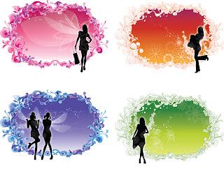 女性のシルエットが華やかな春のフレーム spring ornate frames with girl silhouettes イラスト素材