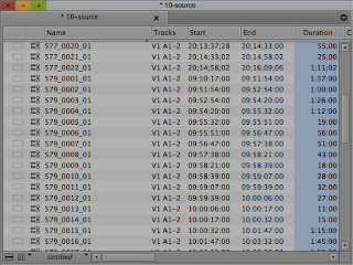 Avid bin in text view showing some pertinent metadata.