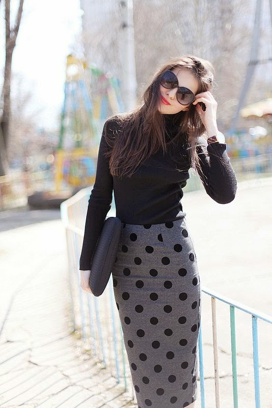 Love the polka dot skirt