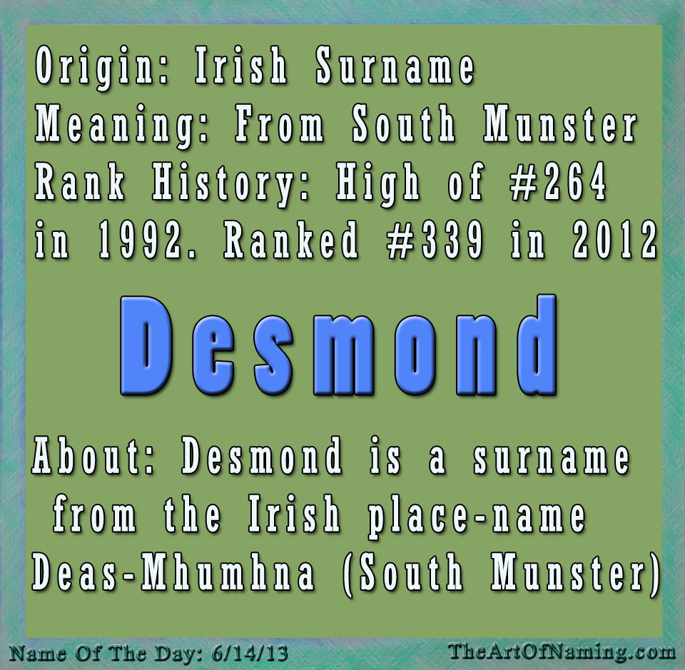 The Art of Naming: Name of the Day: Desmond